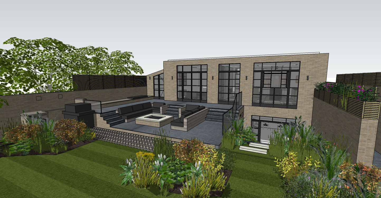 creativemass - visual of terrace, built in seating, firepit, crittall style glazing, lightwell landscaping, basement extension, London
