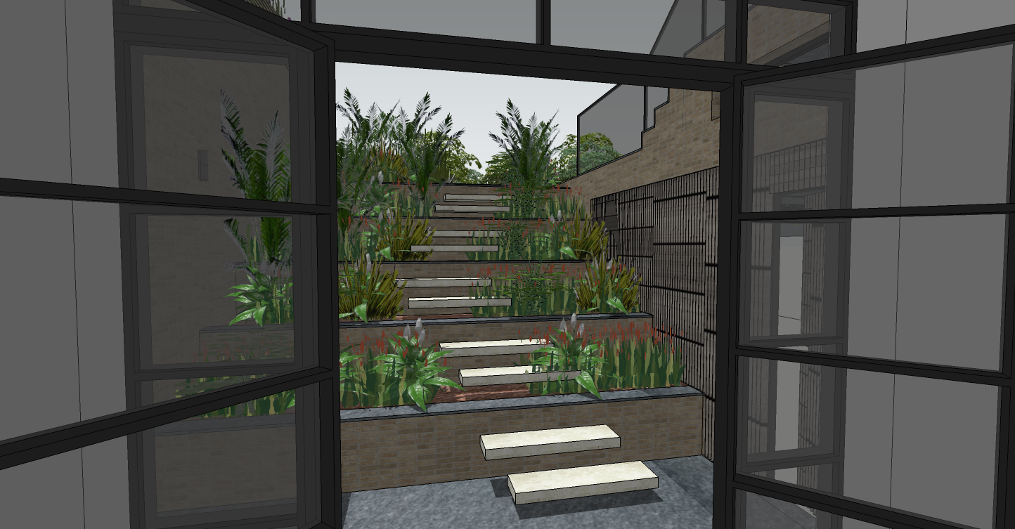 creativemass - visual of lightwell landscaping, basement extension, London
