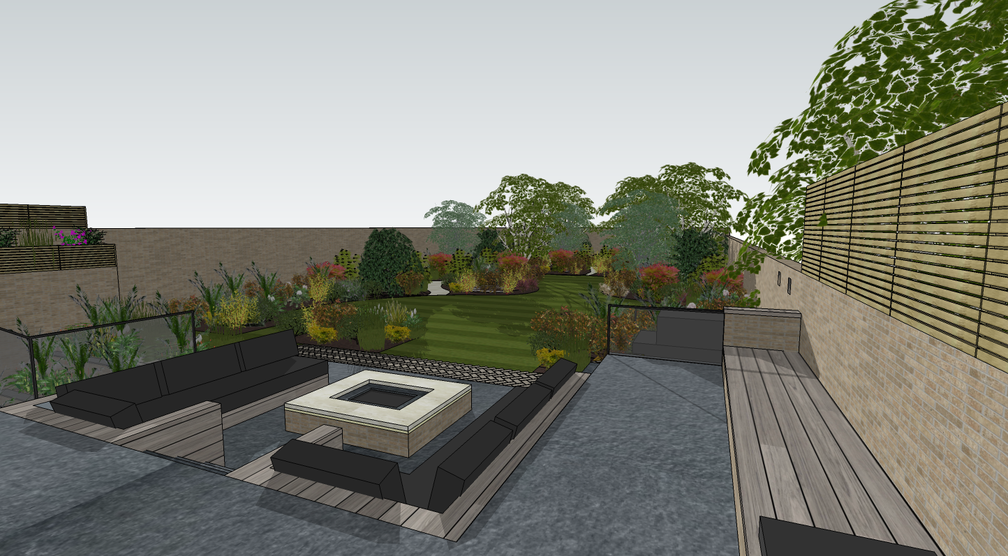 creativemass - visual of terrace, built in seating, firepit, landscape design, London