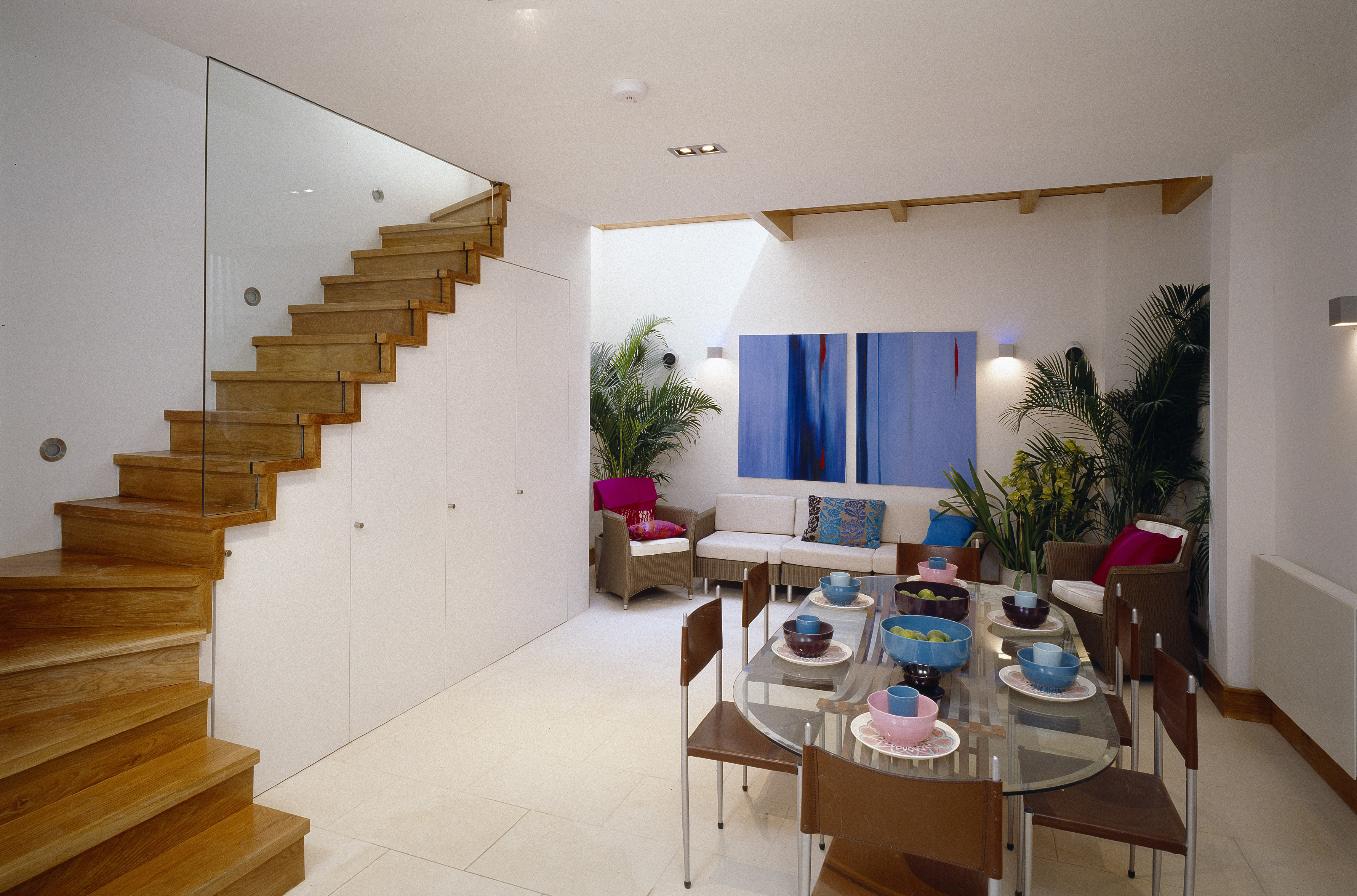 creativemass - basement, extension, roof lights, staircase design, dining space, London