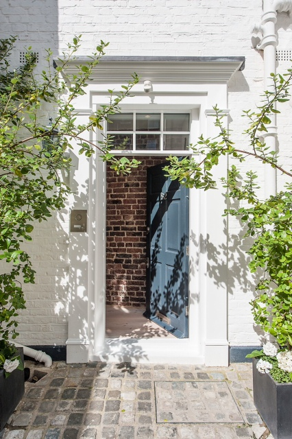 creativemass - mews house, front door, planters, entrance, brick wall, London