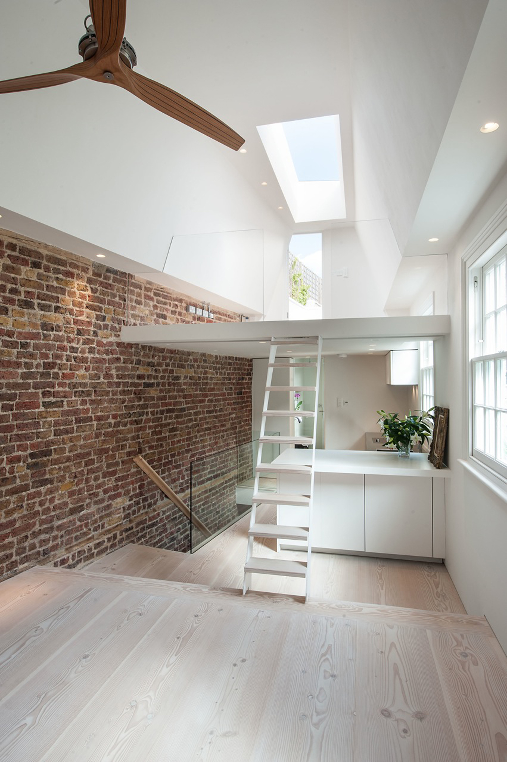 creativemass - basement extension, internal remodelling, sky light, mews house, London, Dinesen wood, ladder, mezzanine, roof top terrace