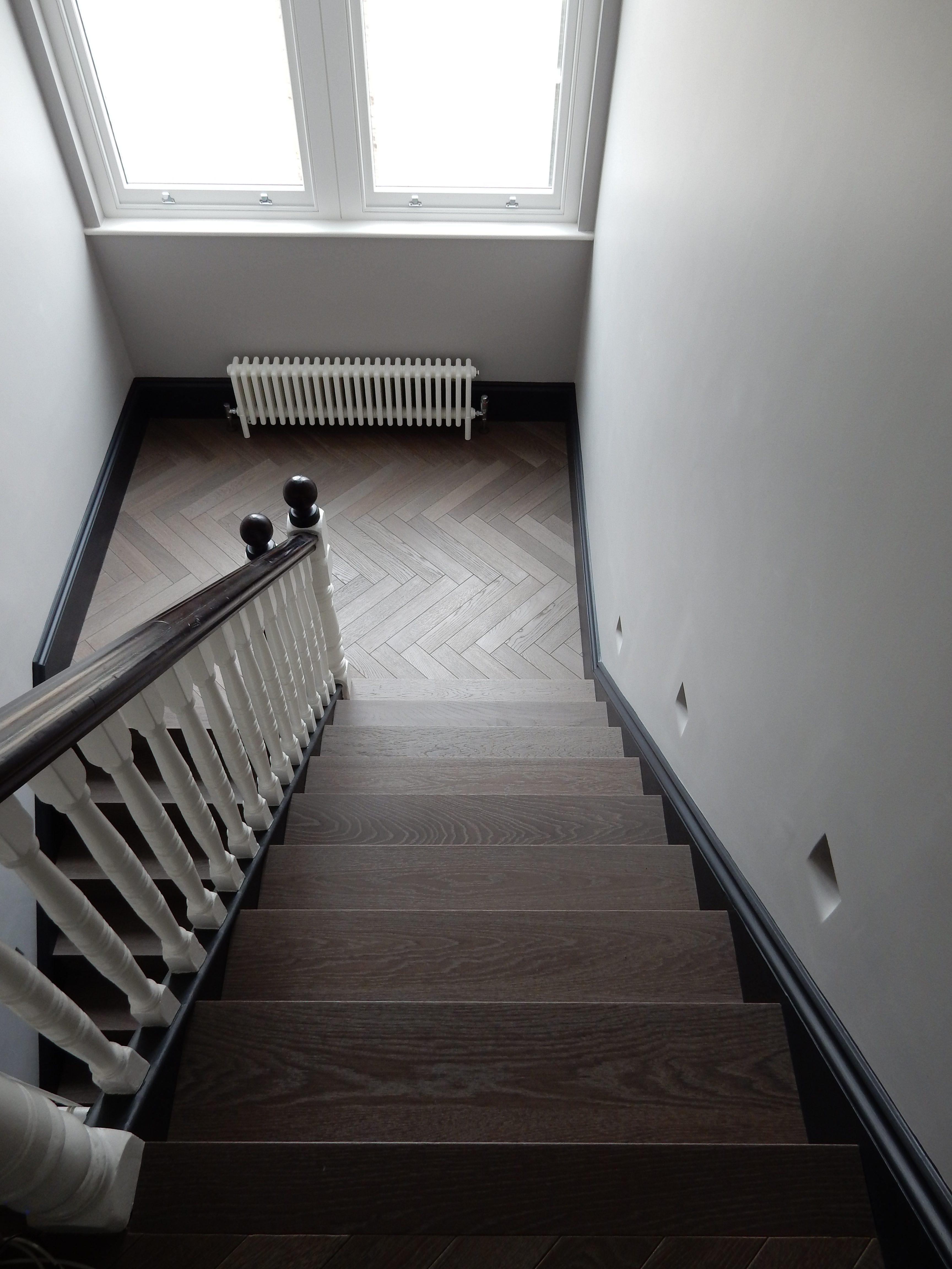 creativemass - rear extension and internal remodelling, light, staircase, bisque radiator, London