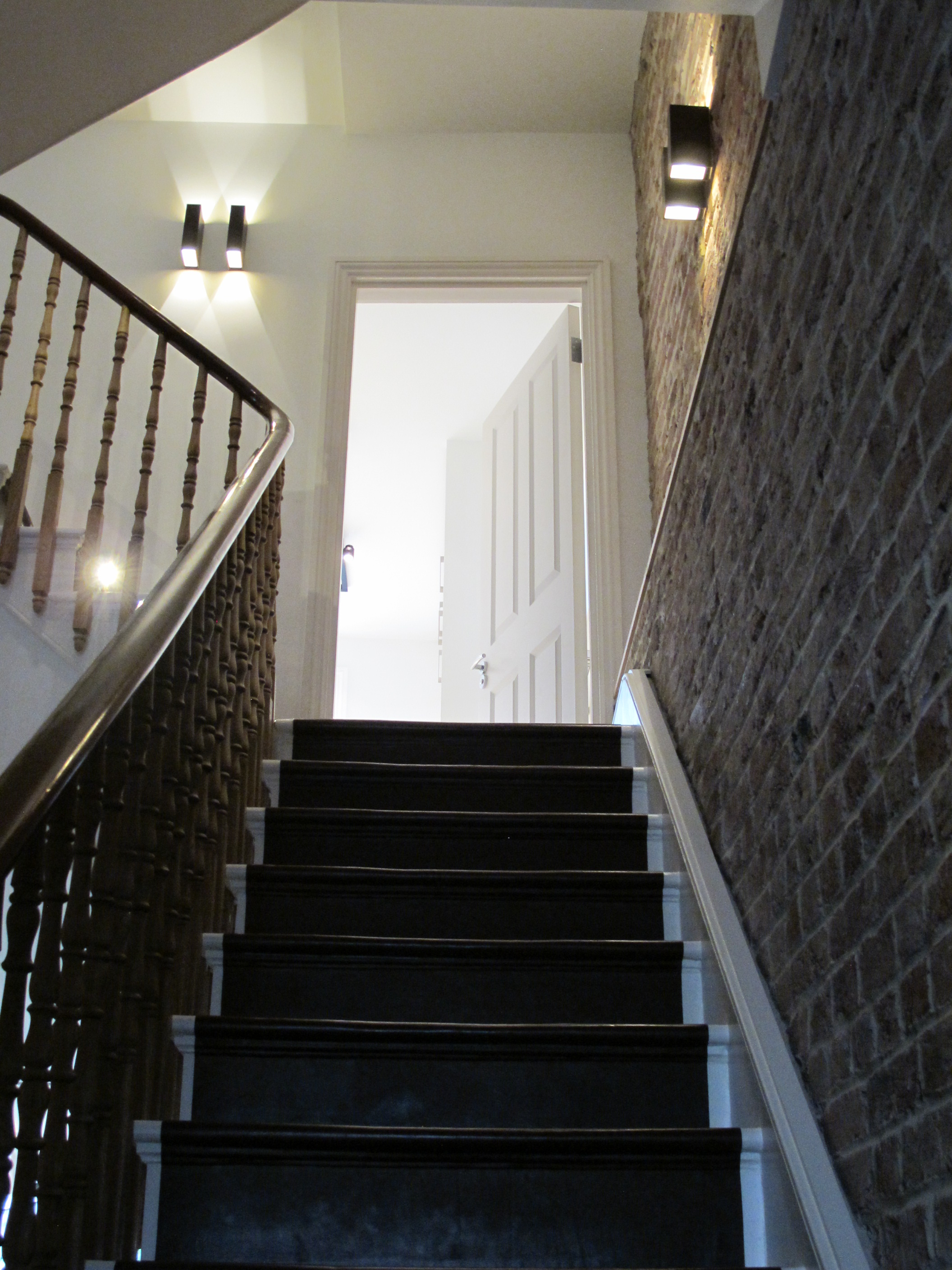 creativemass - basement extension and internal remodelling, stair, leather wrapped, detail, London